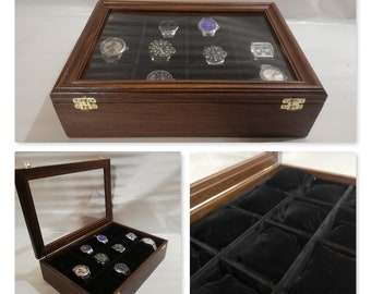 Wooden box for luxury wrist watches, watch box, tudor, hublot, rolex, handmade in Italy
