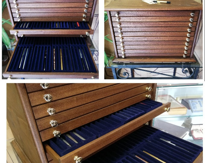 Storage unit for 400 collection pens penholder from exhibitor desk