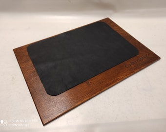 Extra large customizable leather and wood desk mat table desk pad leather blotter mousepad laptop Monogrammed Desk Pad