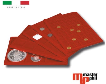 Large Tray different formats for Coins medals in high quality red flocked collectibles