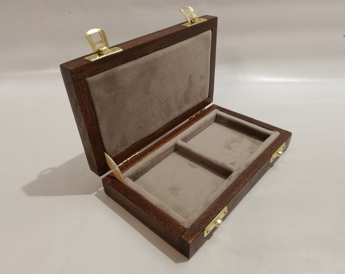 Wooden case for coins or medals 2 boxes 50 x 50 mm in velvet Italian TORTORA handmade by Coins&More numismatica
