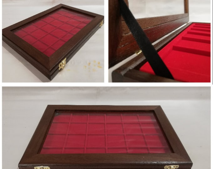Wooden case expositor for coins or medals, malacology, gems, customizable wooden display showcase