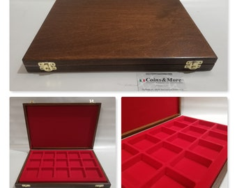 Wooden casket, sold empty or with a tray for coins, medals, malacology, gems, collectibles