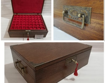 Wooden coin box with double bottom and 2 trays in Italian velvet handmade customizable Furio Troiano Coins & More