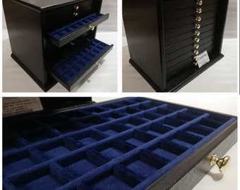 coin cabinet in real wood 10 drawers in first quality Italian velvet color of your choice