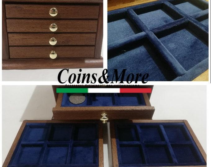 Little Monetiere Medal4 drawers in real velvet coin binder
