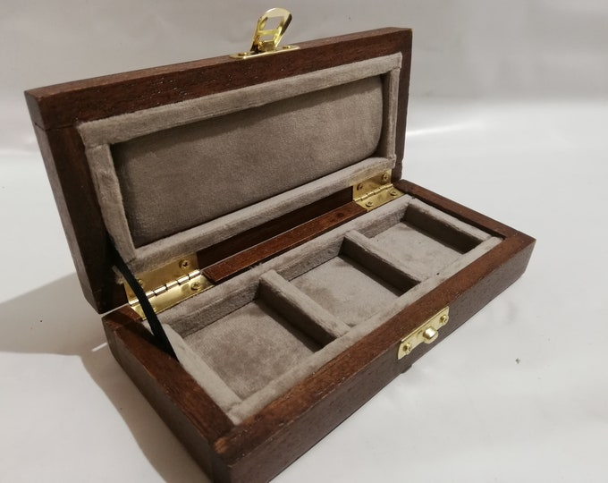Wooden case case for coins or medals 3 boxes 50 x 50 mm in velvet Italian Tortora handmade by Coins&More numismatica