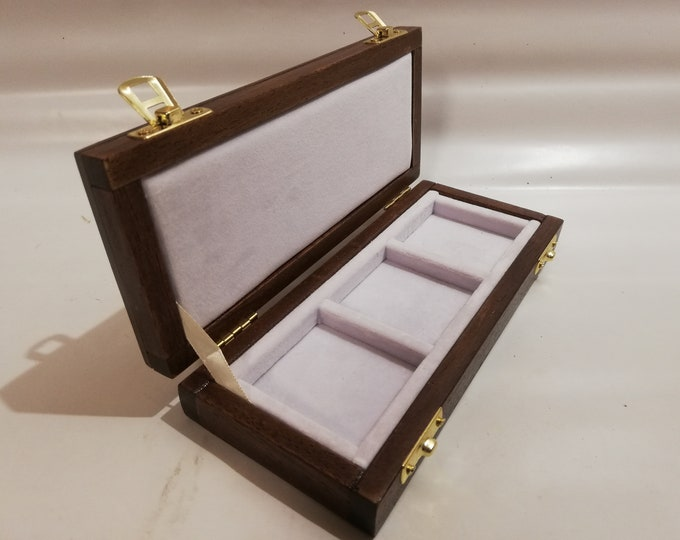Wooden case case for coins or medals 3 boxes 50 x 50 mm in Italian velvet White handmade by Coins&More numismatica