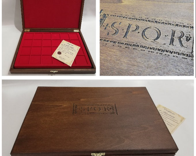 Wooden case for coins or medals Roman Empire S.P.Q.R., with two removable trays, customizable