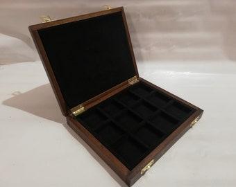 Astuccio per monete in solido legno e velluto Nero - Furio Troiano Monetieri e accessori per collezionisti -
