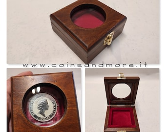 Wooden box case single coin case. Wood and velvet with 3 mm glass porthole.