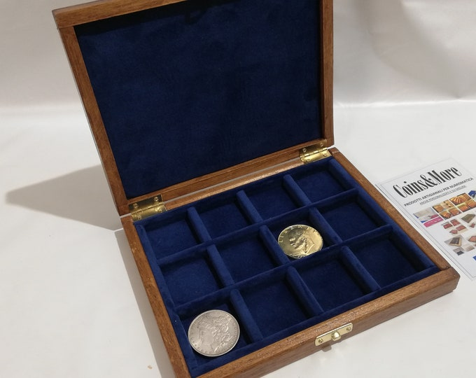 Wooden box case for coins or medals 12 boxes 40 x 40 mm in velvet Italian BLU handmade Coins&More numismaticmoneta monetiere