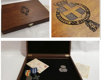 Wooden case for coins or medals or postcard Kingdom of Italy
