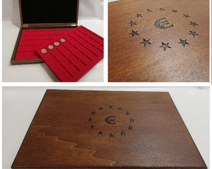 Wooden case for coins or medals EURO, with two removable trays, customizable
