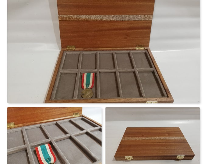 Wooden case for military medals, Solid Mahogany and velvet  medals display case