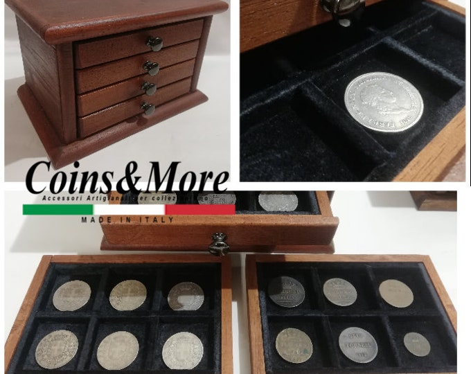 Little Monetiere Medal4 drawers in real velvet coin binder