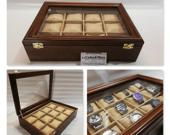 Wooden box for luxury wrist watches, watch box, tudor, hublot, rolex, handmade in Italy