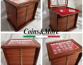Coin cabinet in real wood color Mahogany 10+1 Drawers