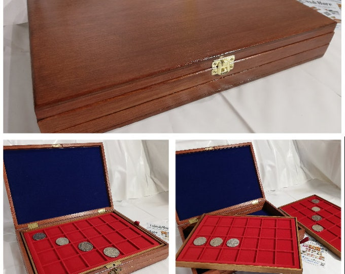 Customizable wooden case for coins with 2 red flocked trays