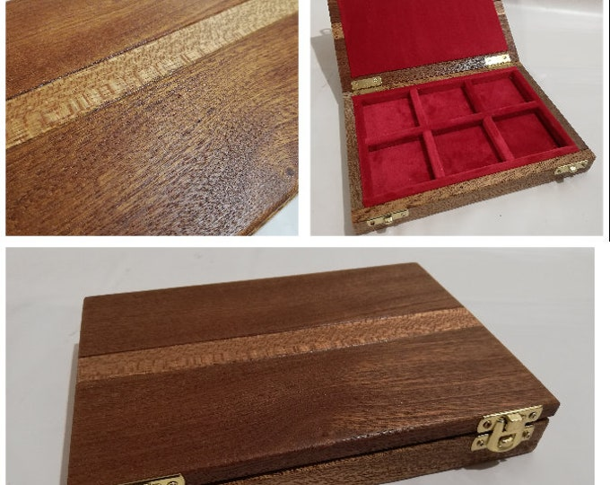 Mahogany coin cabinet  inside in red velvet handmade By Furio Troiano