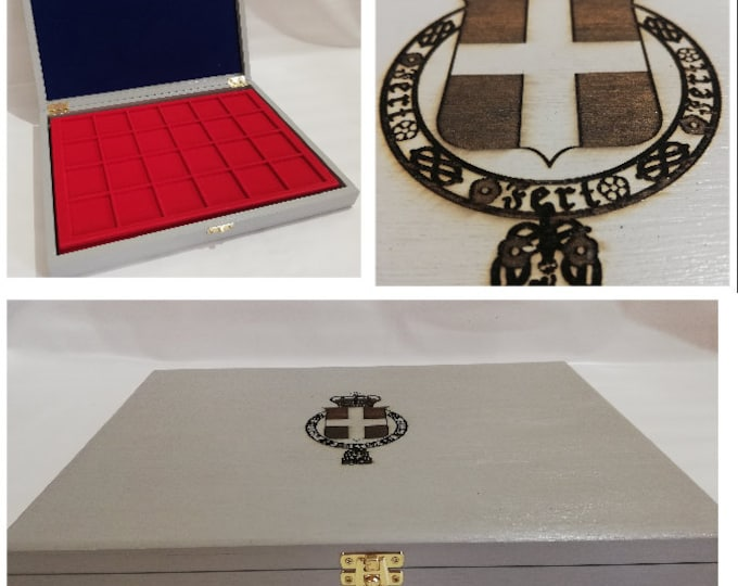 Wooden case for coins or medals Kingdom of Italy, with two removable trays, customizable