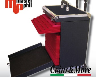 Trolley for transporting trays in red flocked for numismatic coins coin cabinet coins&more