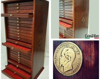 Coin cabinet Coin cabinet in real wood color Walnut 25 Drawers