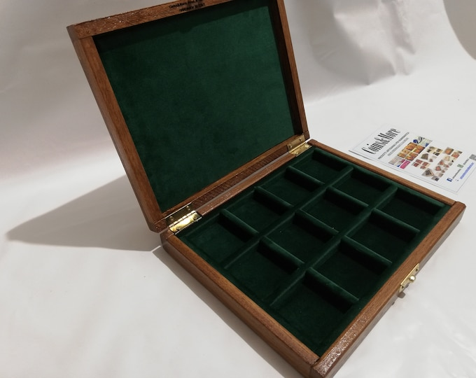 Wooden box for coins medals 12 boxes 40 x 40 mm velvet Italian GREEN handmade Coins&More numismatica monetiere collector