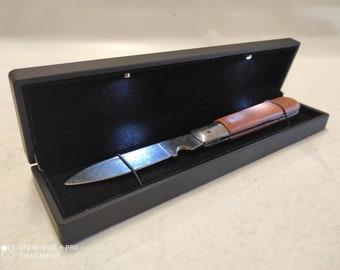 Espositore per coltelli da collezione Cofanetto con luce led in Plastica e velluto Nero