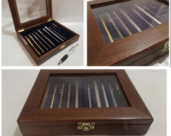 Pen box, wooden case. Display for fountain pen collection, also personalized