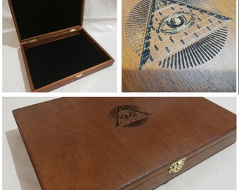 Wooden casket for Masonic collectibles Freemasonry pyramid
