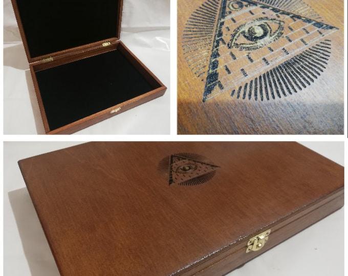 Wooden casket for Masonic collectibles Freemasonry pyramid