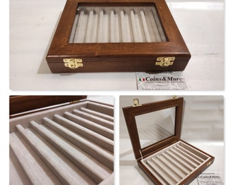 Pen holder box, Wood and velvet case Display for 9 fountain pens, personalized fountain pen showcase