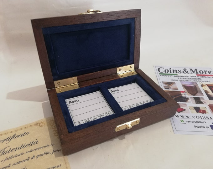 Wooden box case for coins or medals 2 boxes 50 x 50 mm in velvet Italian BLU handmade by Coins&More numismatica