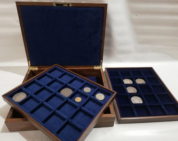 Cofanetto per monete in legno e velluto , medaglie scatola per monete 40 posti 40x40 mm