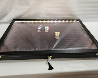 Showcase with LED light, in real wood for collectors, display for coins, medals or other