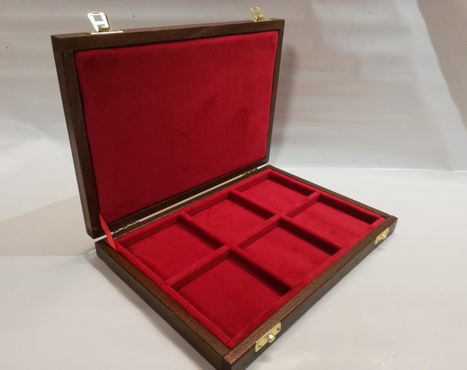 Wooden box case 6 squares 74x74 mm in Italian velvet, color of your choice