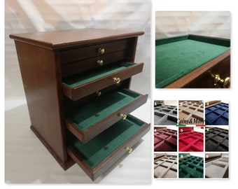 Wooden furniture for brooches, distinctive jewels and other customizable Italian velvet interior