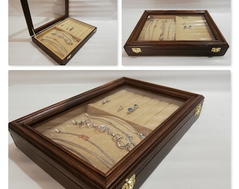 Wooden jewelry box, customizable handmade jewelry box display stand for jewelry