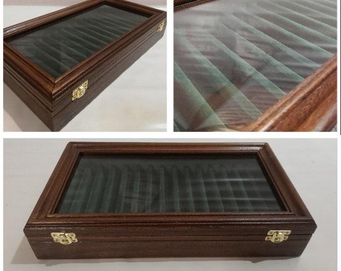 Cofanetto per Rasoi a mano libera da collezione Astuccio in legno e velluto Espositore