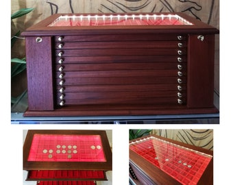 Large coin cabinet with 10 drawers  in flocked red or Italian first choice velvet LED ® medal cabinet in walnut color