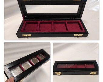 Wooden box case 4 squares 50x50mm in Italian velvet, color of your choice