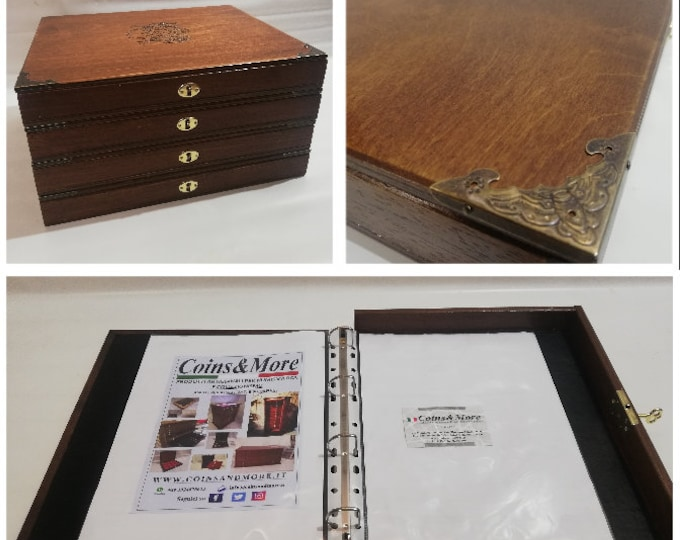 Album Binder in wood for A4 sheets handmade Customizable - handmade Coins&More office wooden case By Furio Troiano
