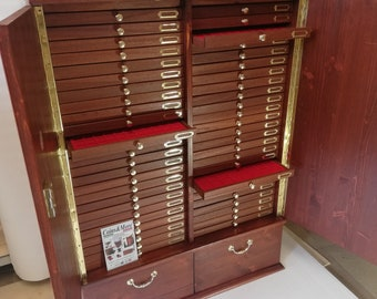 Coin cabinet in real wood color Mahogany 50+2 Drawers Made by Italian craftsman Furio Troiano