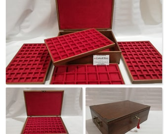 Wooden coin box with 4 trays in Italian velvet handmade customizable Furio Troiano Coins & More