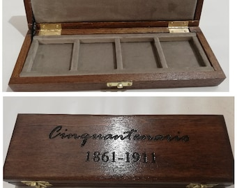 Wooden case case for 50th series coins 4 boxes 50 x 50 mm