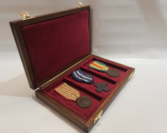 Wooden case for military medals,  display case