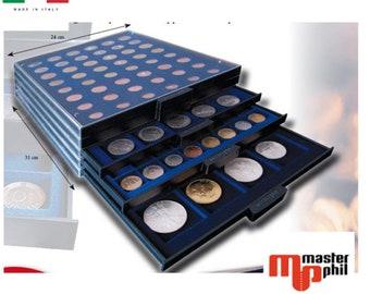 MasterPhil mp-box cassetti impilabili vassoi per monete e serie euro velluto blu