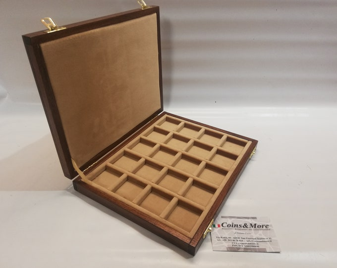 Wooden box case 20 squares 40x40 mm in Italian velvet, color of your choice