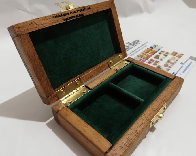 Wooden case for coins or medals 2 boxes 50 x 50 mm in velvet Italian green handmade by Coins&More numismatica